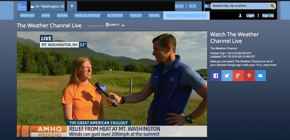 Liz at Mount Washington on the Weather Channel